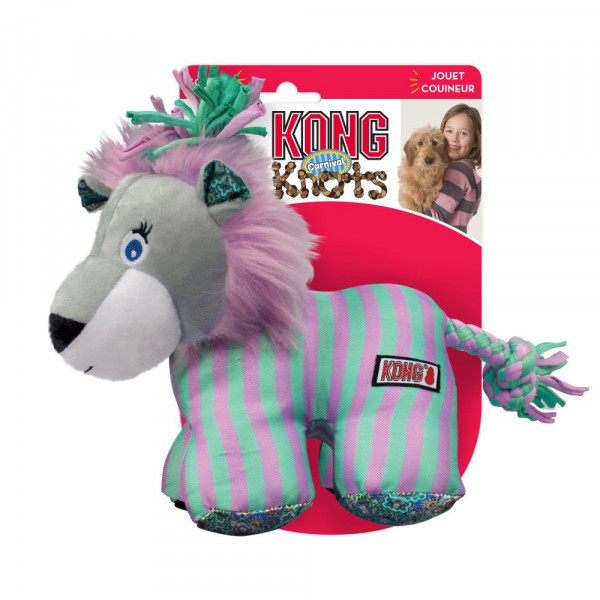 KONG-Knots-Carnival-Loewe-robustes-spielzeug-fuer-hund-pluesch-23277