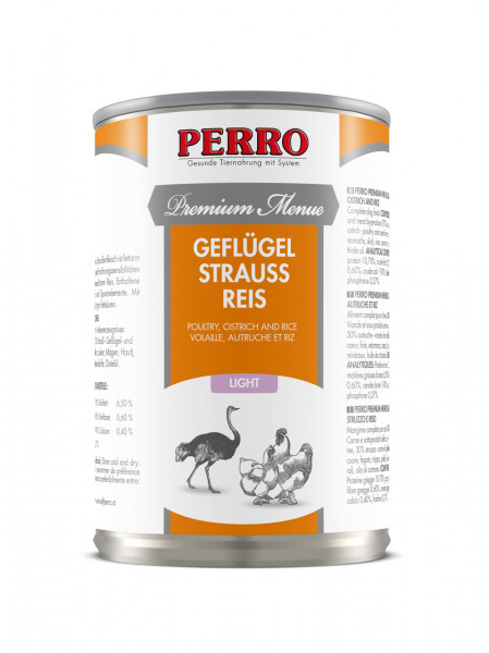 PERRO-premium-menue-light-gefluegel-strauss-reis-410g-185070